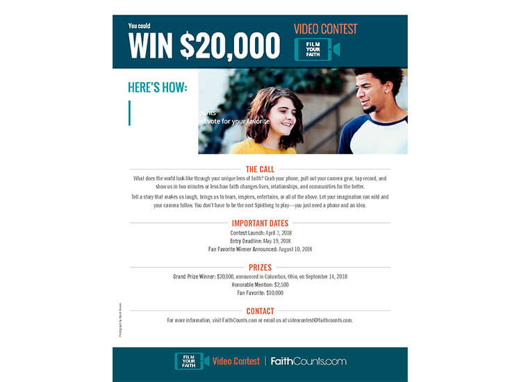 $20,000 FOR TWO MINUTES' WORK! FAITH COUNTS LAUNCHES 3rd 'FILM YOUR FAITH' VIDEO CONTEST