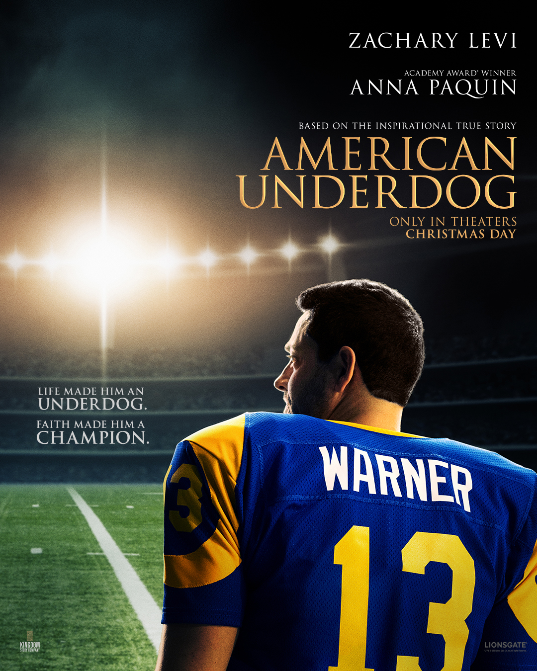 AMERICAN UNDERDOG – Kurt & Brenda Warner's amazing story – lands coveted Christmas Day nationwide release from Lionsgate